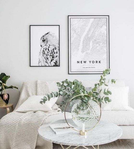 Gallery wall owl map new york