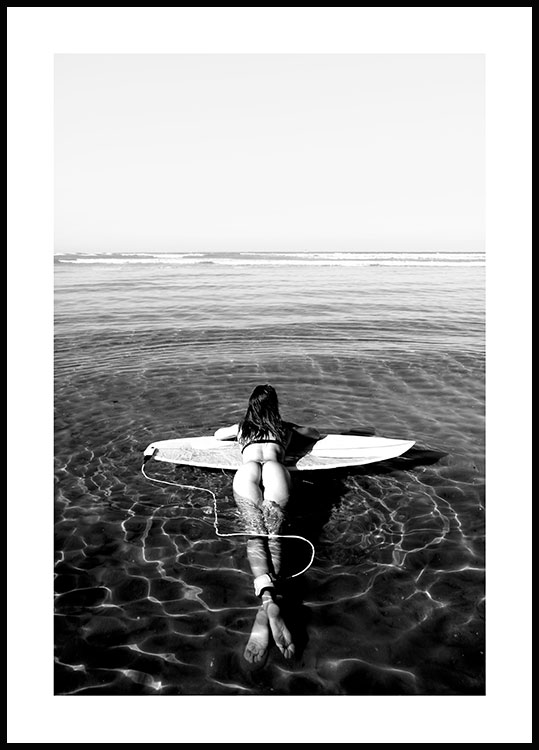 Floating on a Surfboard Poster